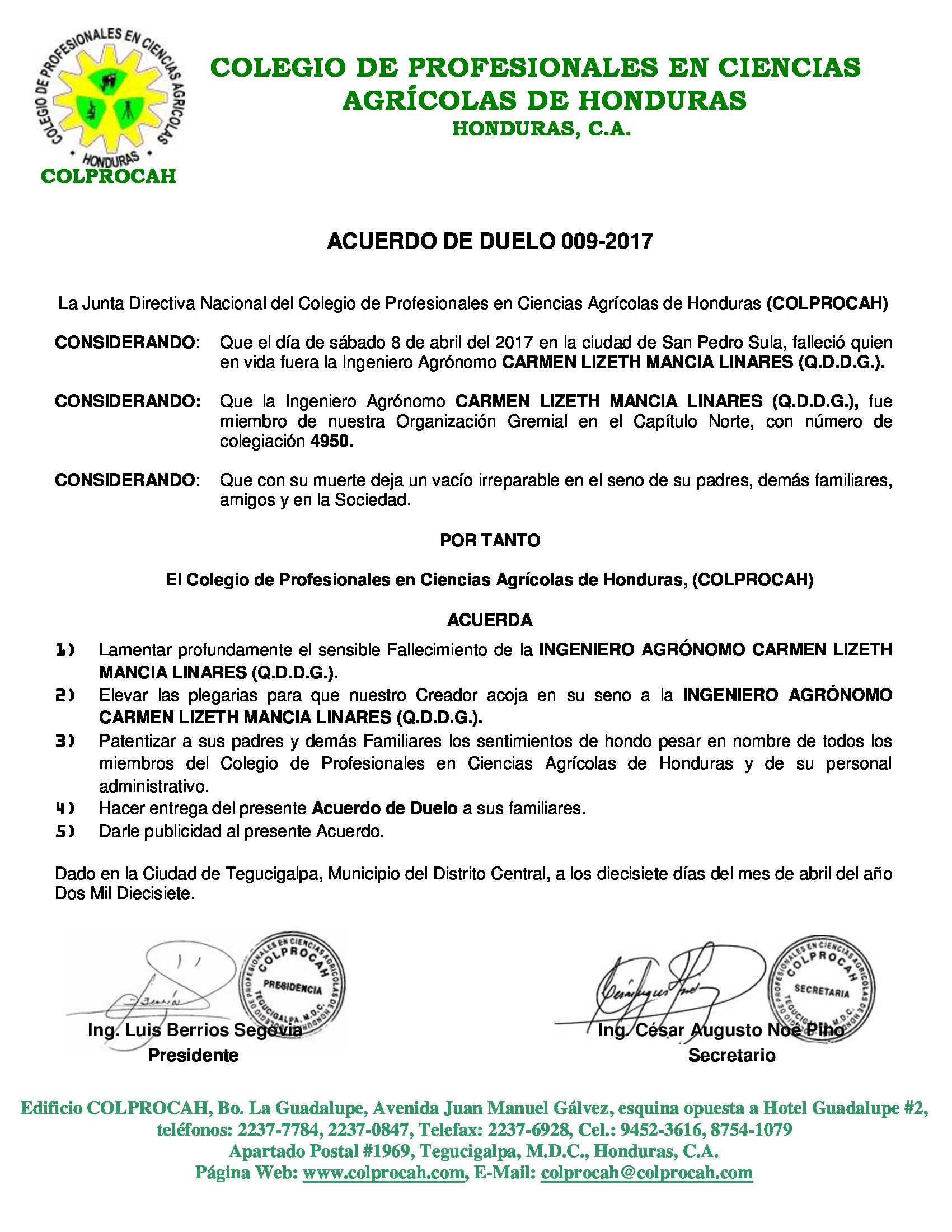Acuerdo de Duelo 009-2017 CARMEN LIZETH MANCIA LINARES
