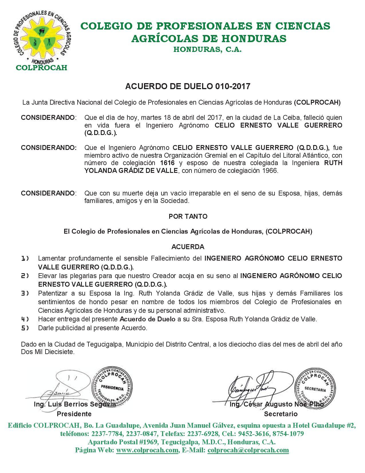 Acuerdo de Duelo 010-2017 CELIO ERNESTO VALLE GUERRERO