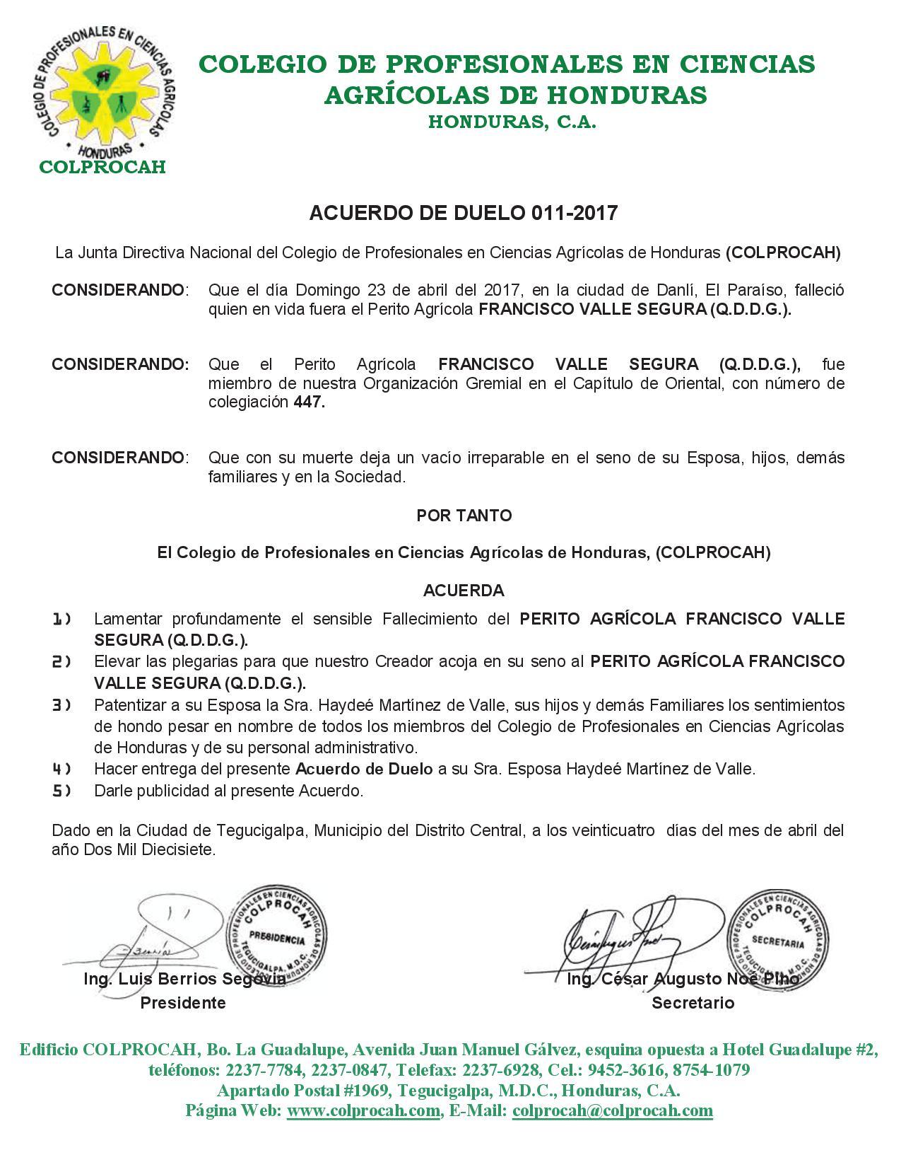 Acuerdo de Duelo 011-2017 FRANCISCO VALLE SEGURA