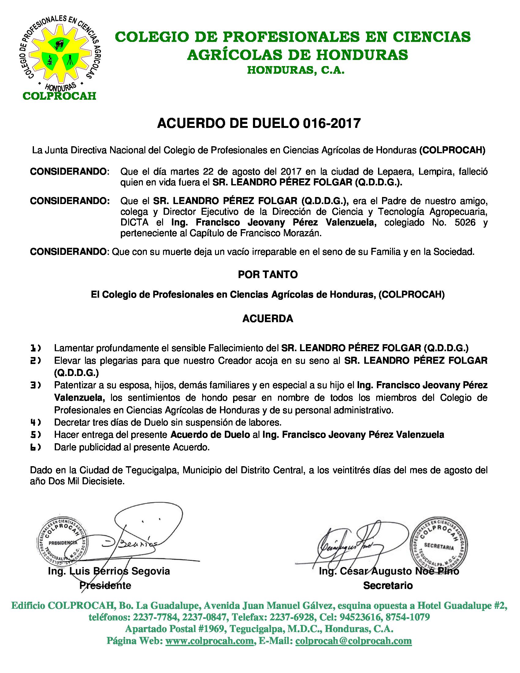 Acuerdo de Duelo 016 SR. LEANDRO PEREZ FOLGAR (PADRE DEL ING. JEOVANY PEREZ VALENZUELA)