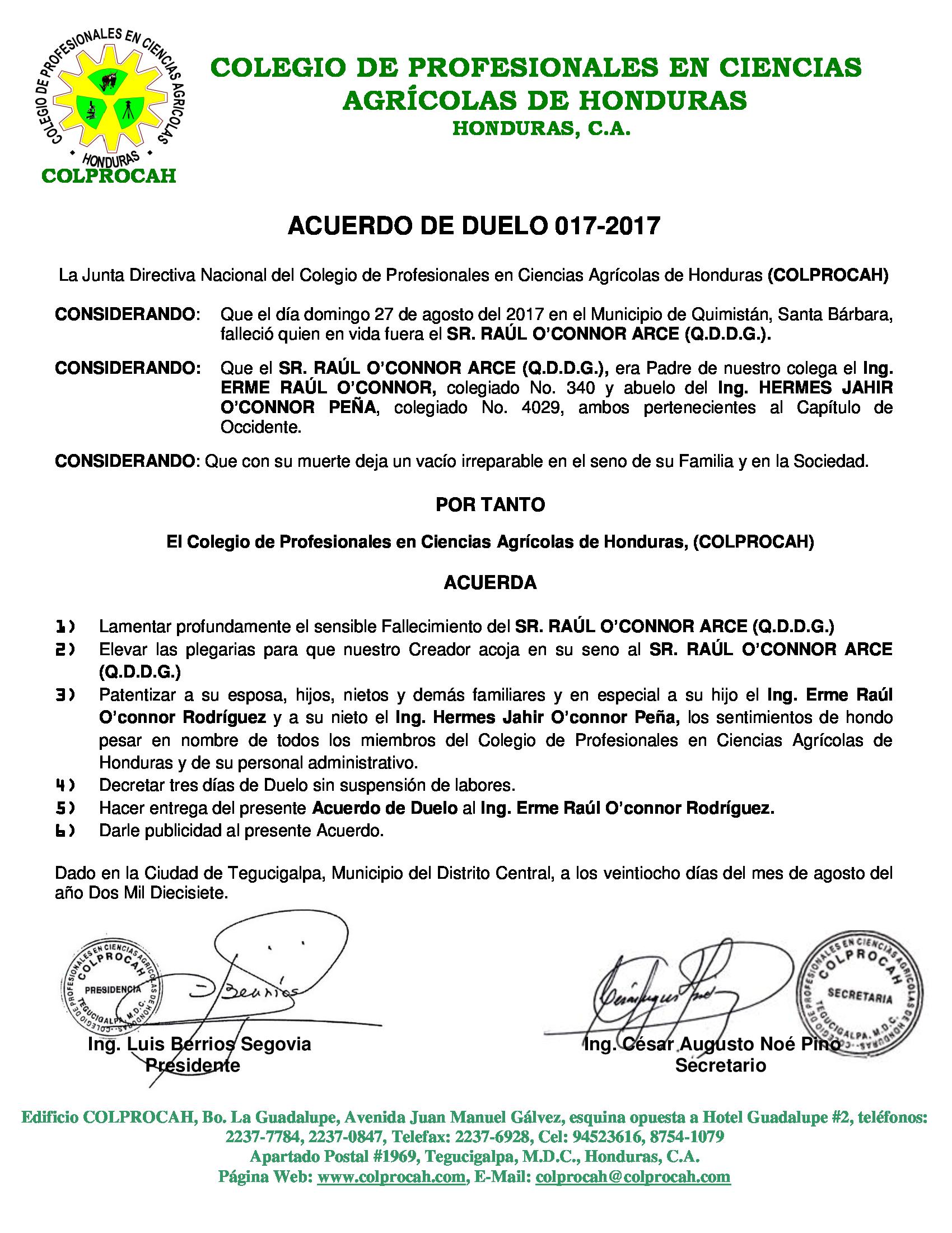 Acuerdo de Duelo 017 SR. RAUL O`CONNOR ARCE (PADRE ERME O'CONNOR)