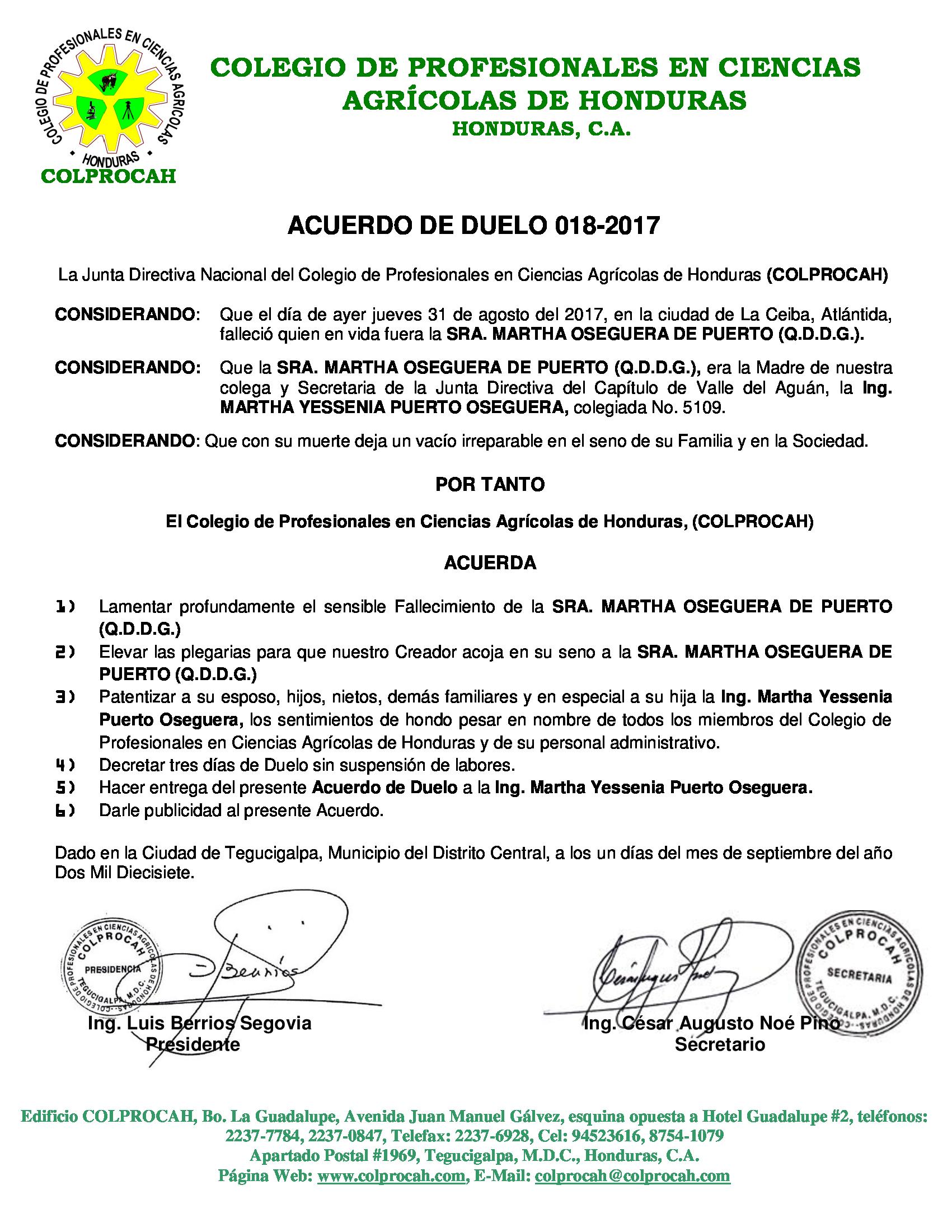 Acuerdo de Duelo 018 SRA. MARTHA OSEGUERA DE PUERTO (MADRE MARTHA PUERTO O.)
